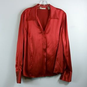 Kate Hill red silk shirt size 16w